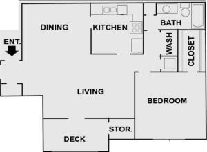1 bedroom apartment layout at Kingsfield apartments